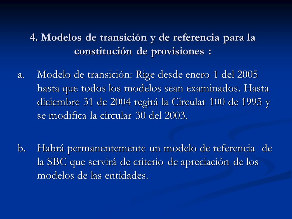 4. Modelos de transición y de referencia para la constitución de provisiones :