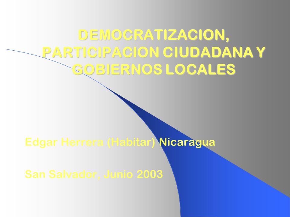 DEMOCRATIZACION, PARTICIPACION CIUDADANA Y GOBIERNOS LOCALES