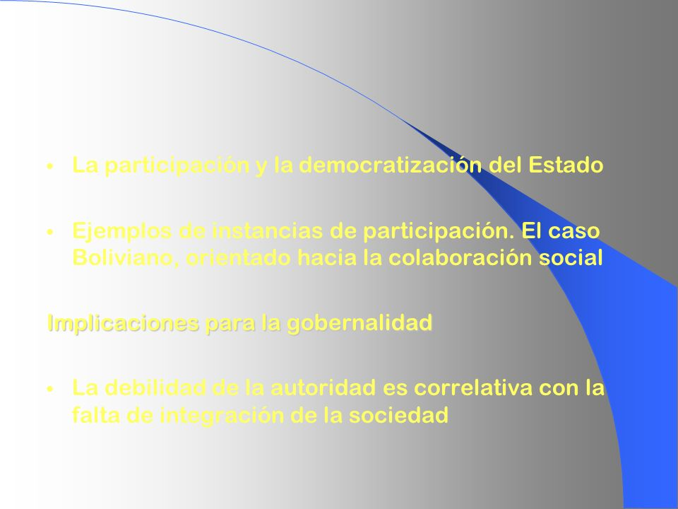 La participación y la democratización del Estado