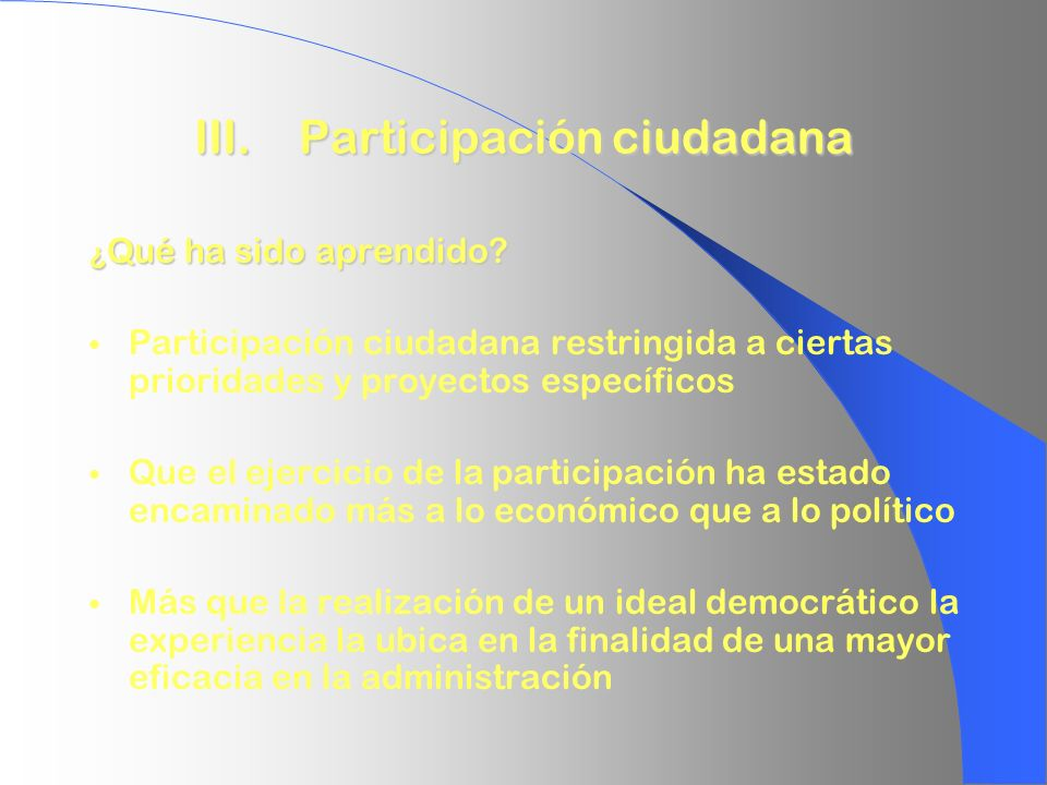 III. Participación ciudadana