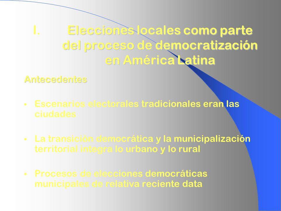 I. Elecciones locales como parte del proceso de democratización en América Latina