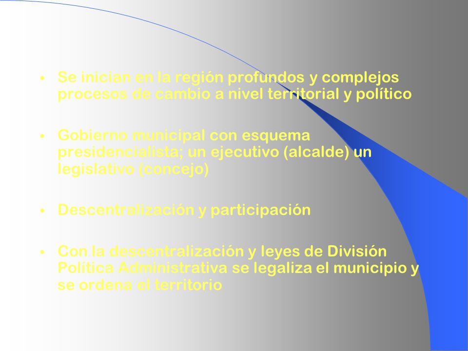 Se inician en la región profundos y complejos procesos de cambio a nivel territorial y político