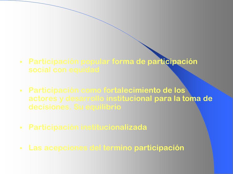 Participación popular forma de participación social con equidad