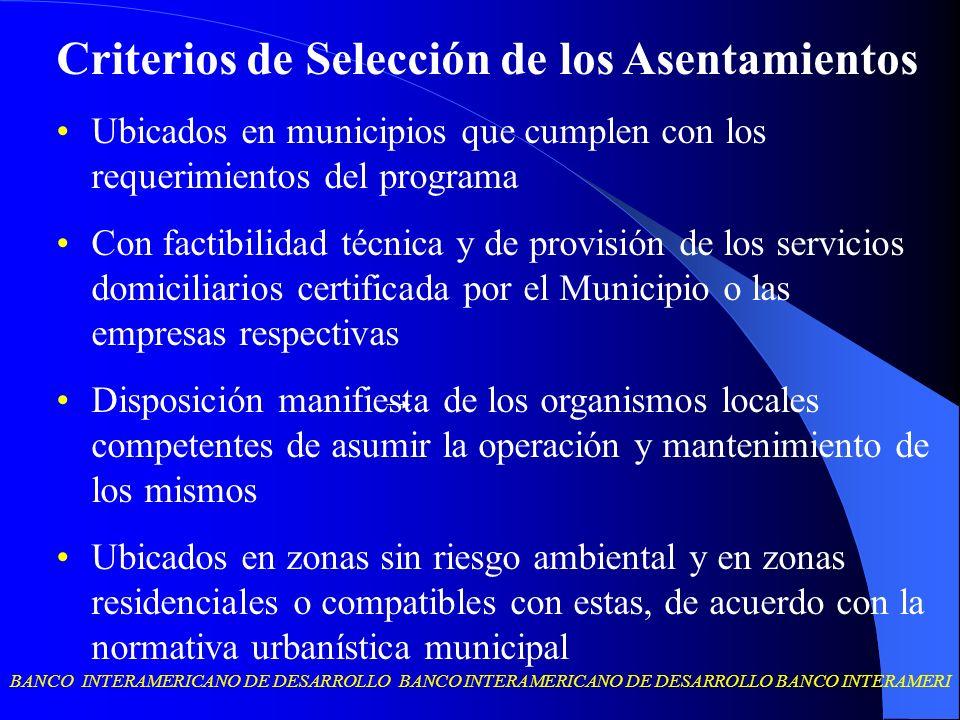 Criterios de Selección de los Asentamientos