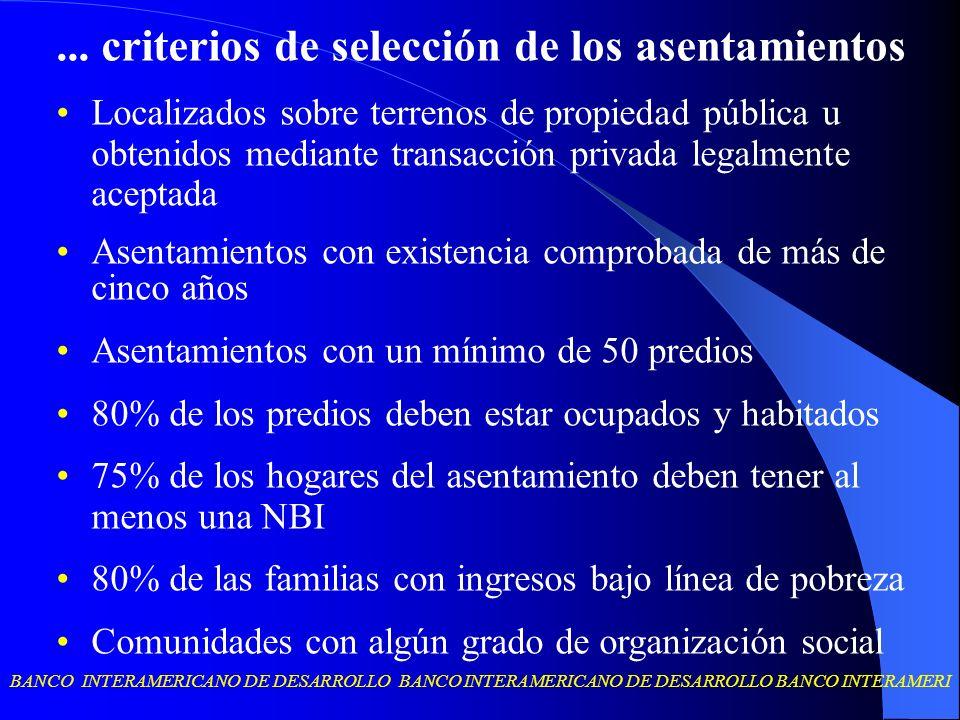... criterios de selección de los asentamientos