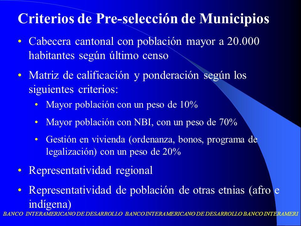Criterios de Pre-selección de Municipios