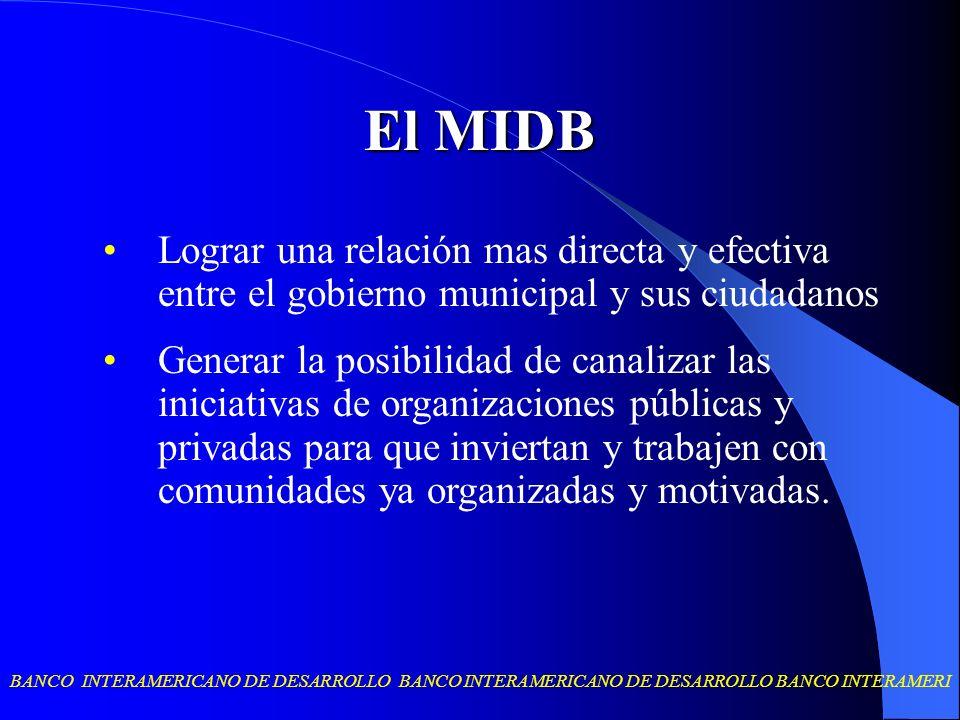 El MIDB Lograr una relación mas directa y efectiva entre el gobierno municipal y sus ciudadanos.