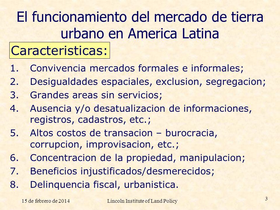 El funcionamiento del mercado de tierra urbano en America Latina