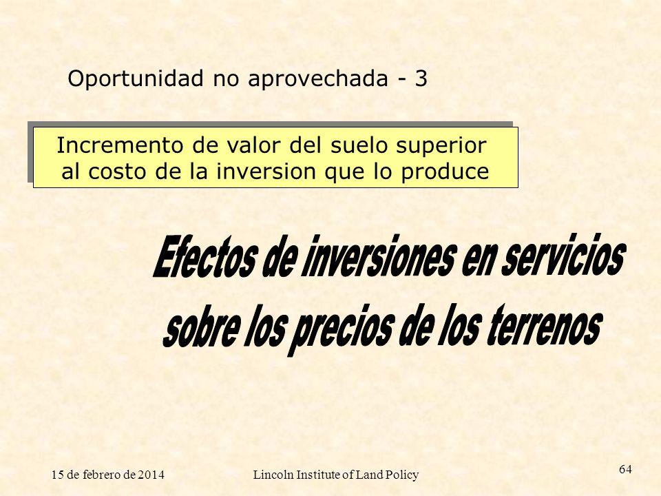 Efectos de inversiones en servicios sobre los precios de los terrenos