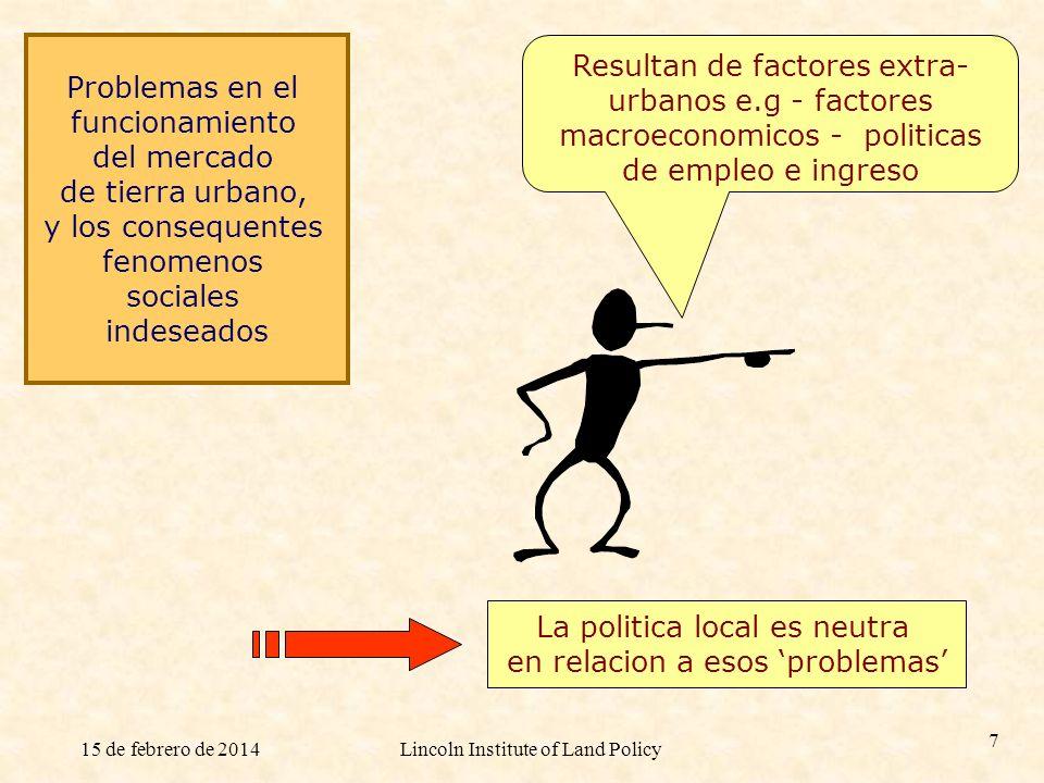 La politica local es neutra en relacion a esos 'problemas'