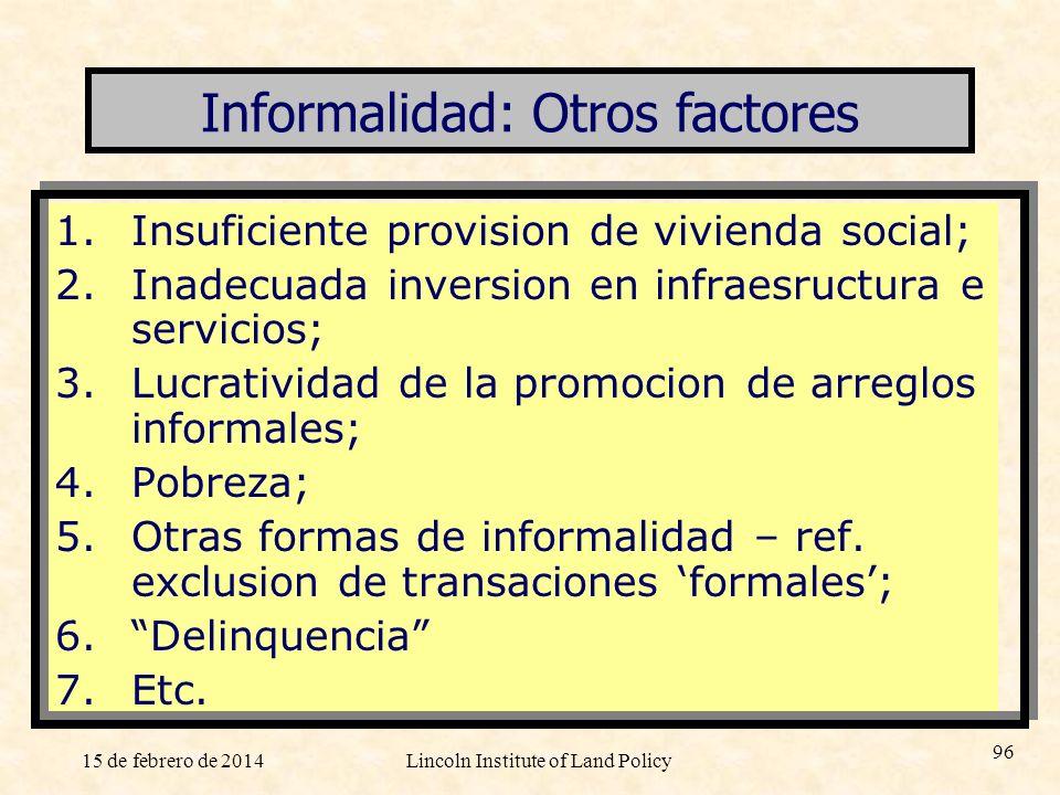 Informalidad: Otros factores