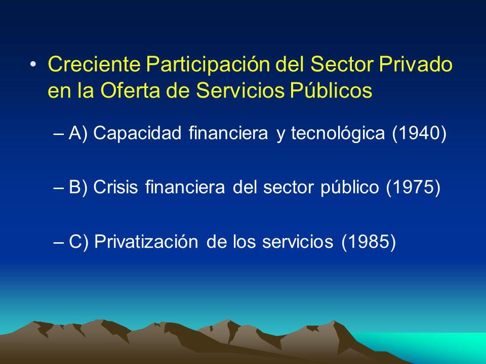 Creciente Participación del Sector Privado en la Oferta de Servicios Públicos