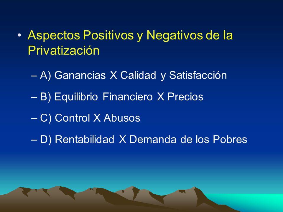 Aspectos Positivos y Negativos de la Privatización