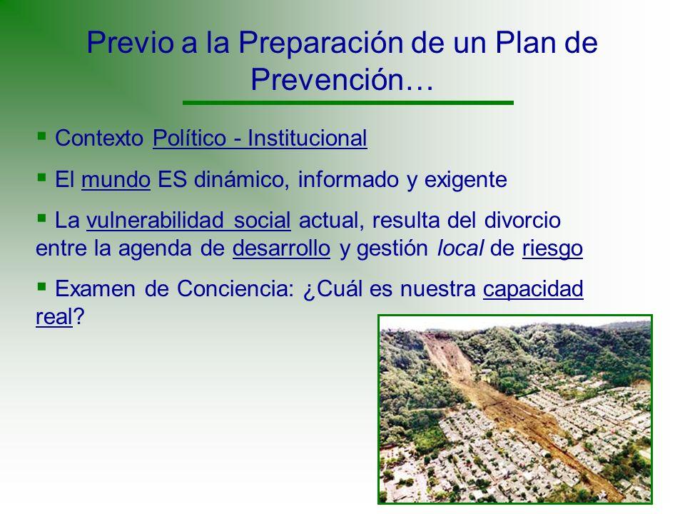 Previo a la Preparación de un Plan de Prevención…