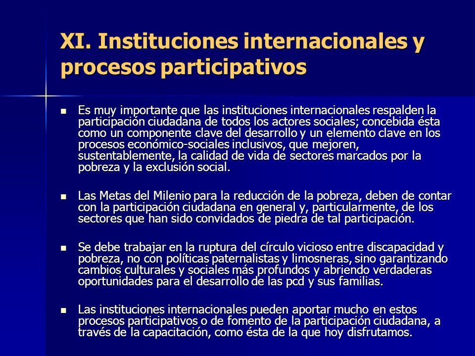 XI. Instituciones internacionales y procesos participativos