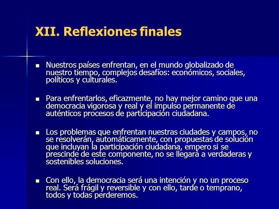 XII. Reflexiones finales