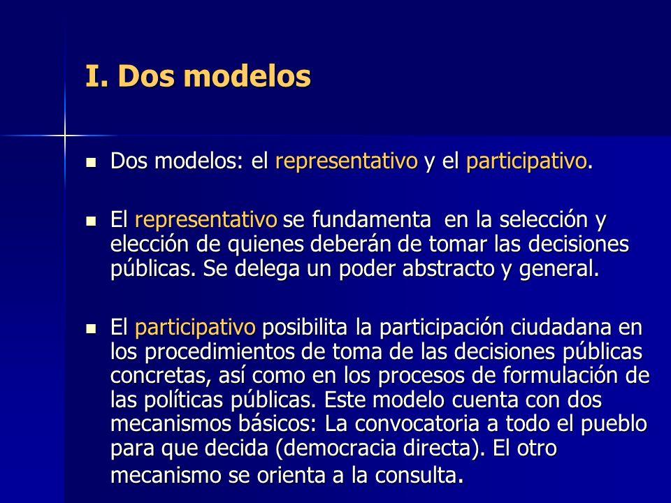 I. Dos modelos Dos modelos: el representativo y el participativo.