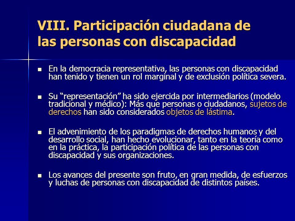 VIII. Participación ciudadana de las personas con discapacidad