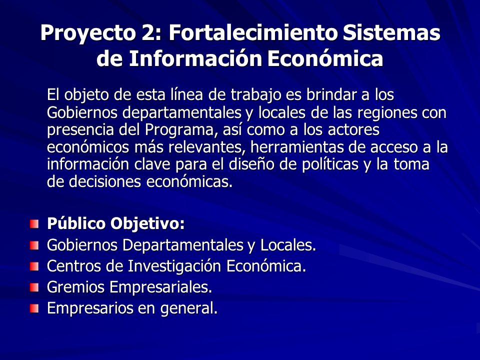 Proyecto 2: Fortalecimiento Sistemas de Información Económica