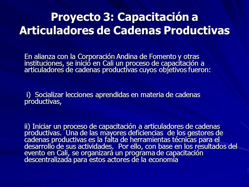 Proyecto 3: Capacitación a Articuladores de Cadenas Productivas