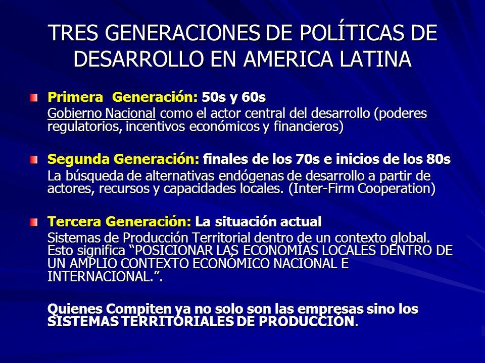 TRES GENERACIONES DE POLÍTICAS DE DESARROLLO EN AMERICA LATINA
