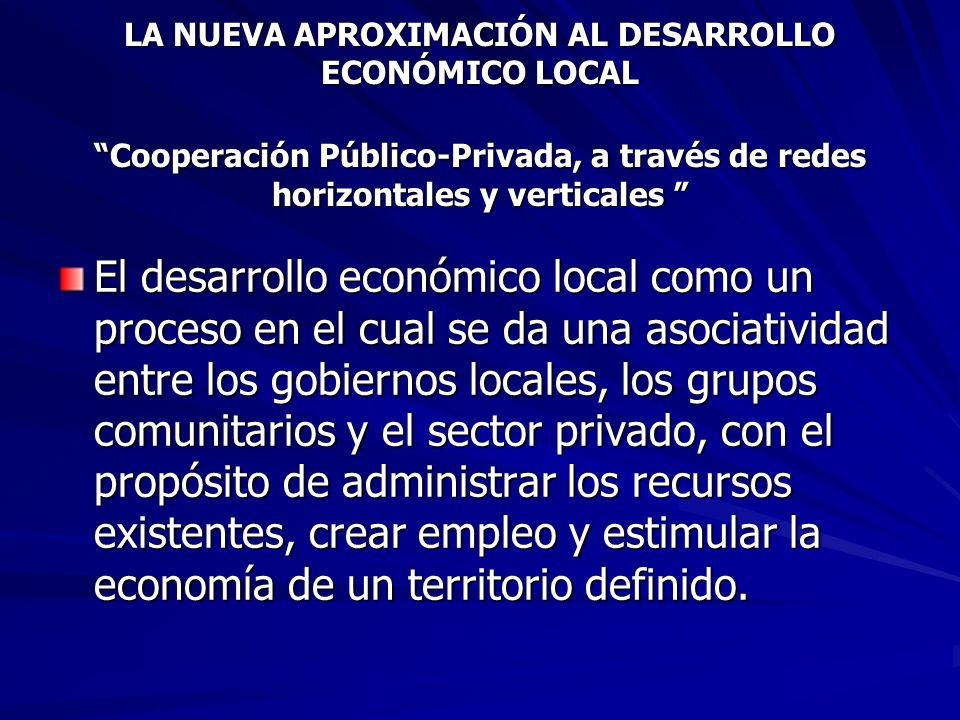 LA NUEVA APROXIMACIÓN AL DESARROLLO ECONÓMICO LOCAL Cooperación Público-Privada, a través de redes horizontales y verticales