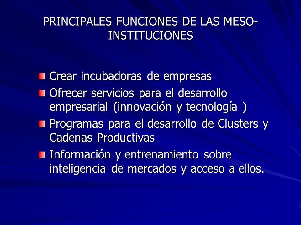 PRINCIPALES FUNCIONES DE LAS MESO-INSTITUCIONES