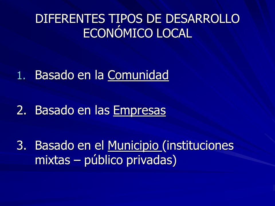 DIFERENTES TIPOS DE DESARROLLO ECONÓMICO LOCAL