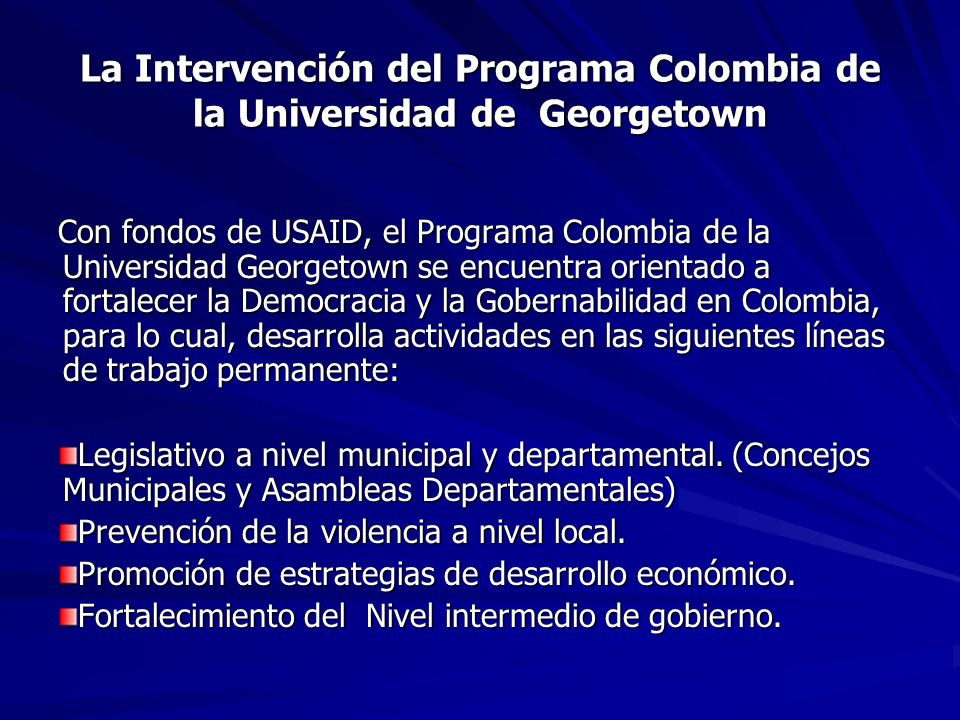 La Intervención del Programa Colombia de la Universidad de Georgetown