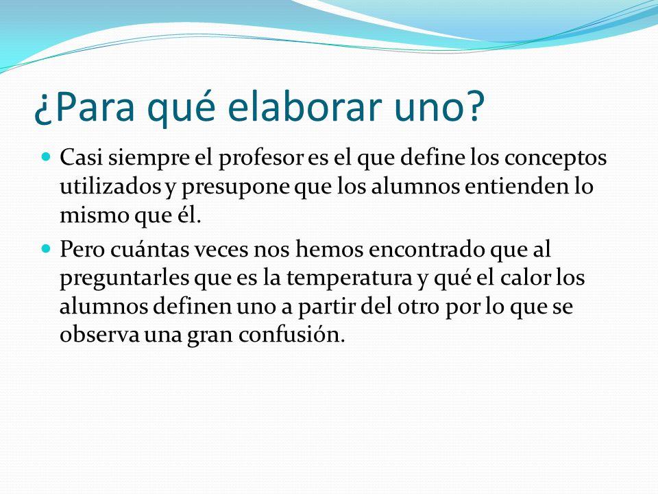 ¿Para qué elaborar uno Casi siempre el profesor es el que define los conceptos utilizados y presupone que los alumnos entienden lo mismo que él.