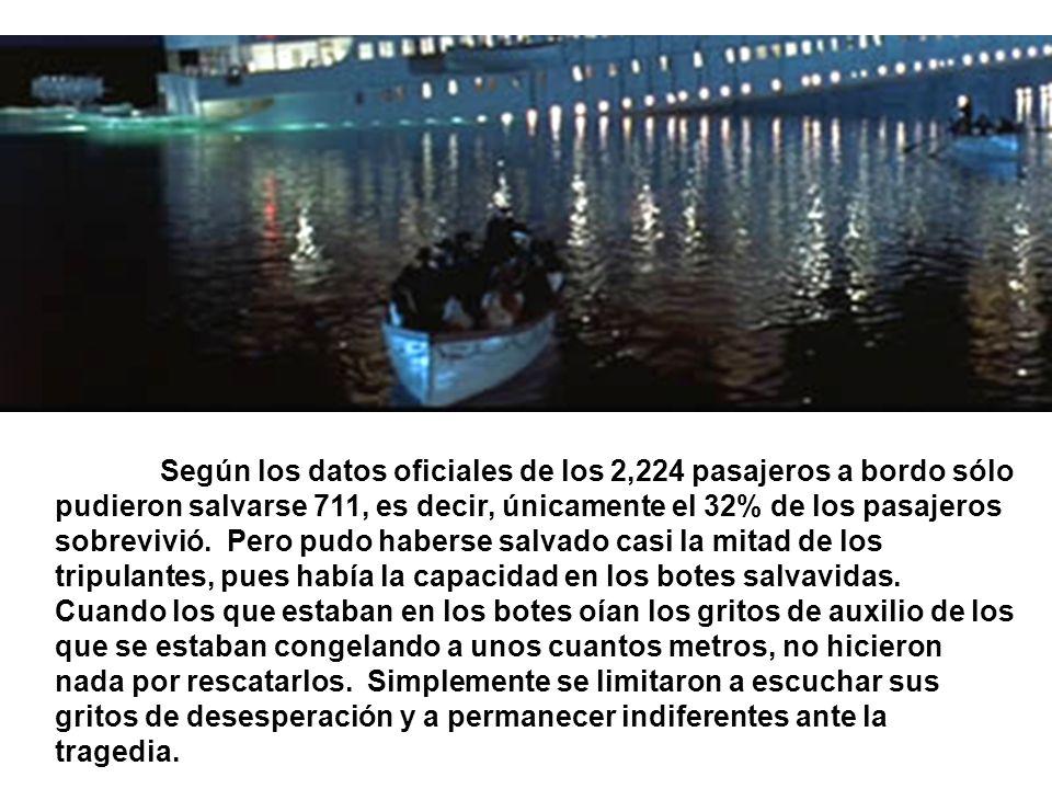 Según los datos oficiales de los 2,224 pasajeros a bordo sólo pudieron salvarse 711, es decir, únicamente el 32% de los pasajeros sobrevivió.