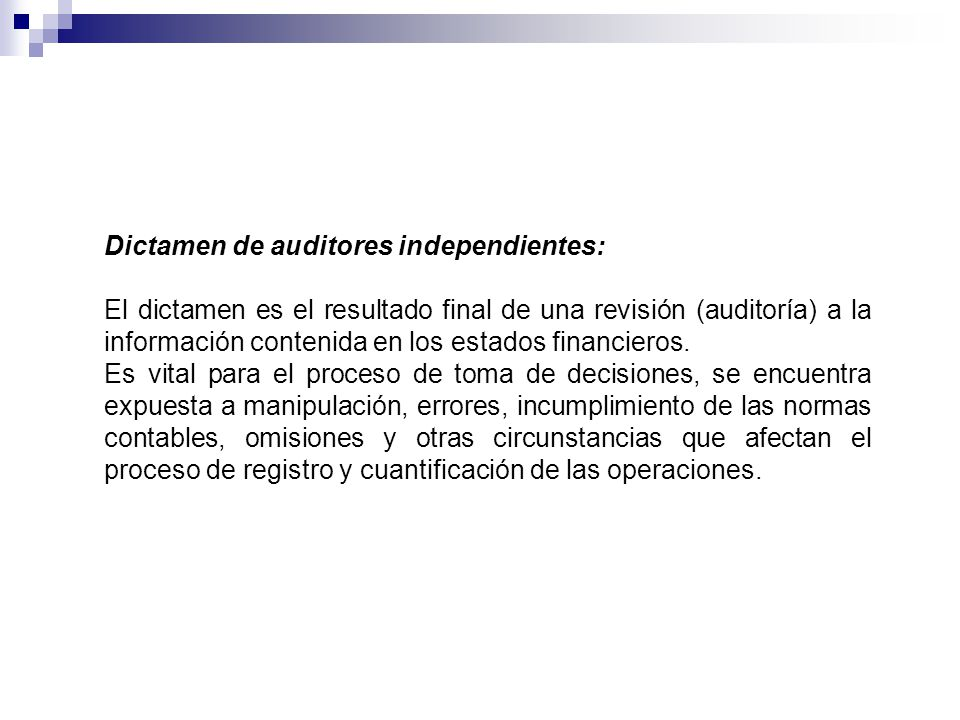 Dictamen de auditores independientes: