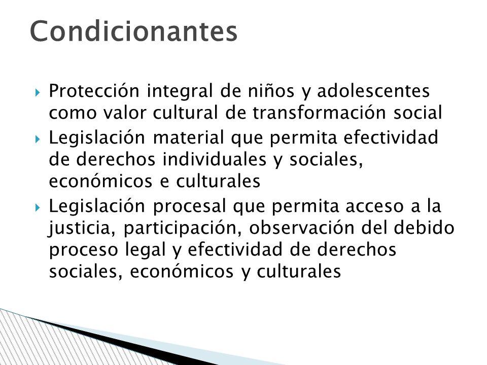 Condicionantes Protección integral de niños y adolescentes como valor cultural de transformación social.