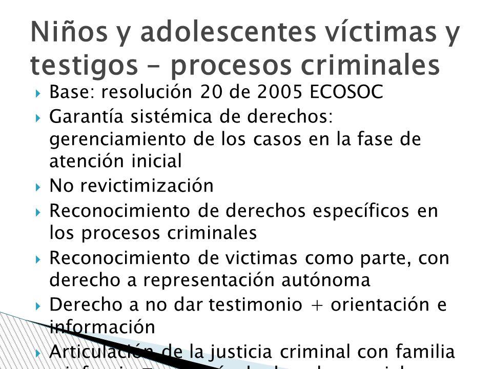 Niños y adolescentes víctimas y testigos – procesos criminales
