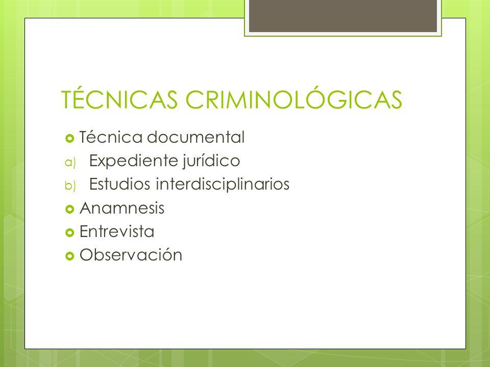 TÉCNICAS CRIMINOLÓGICAS