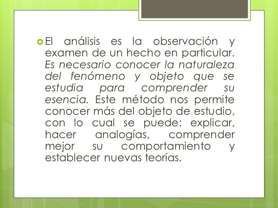 El análisis es la observación y examen de un hecho en particular