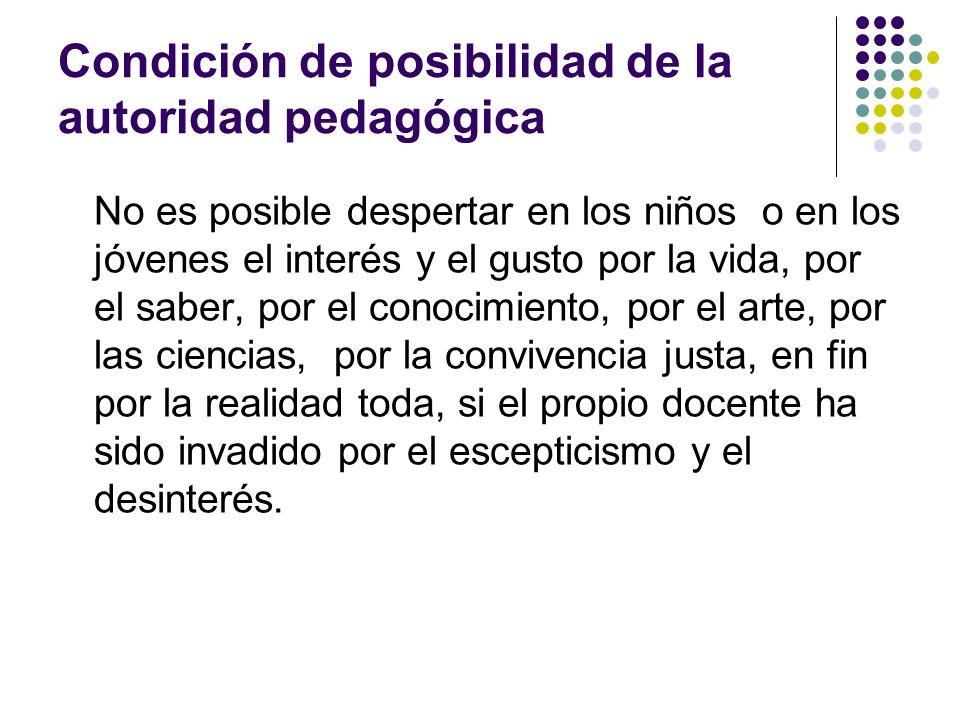 Condición de posibilidad de la autoridad pedagógica