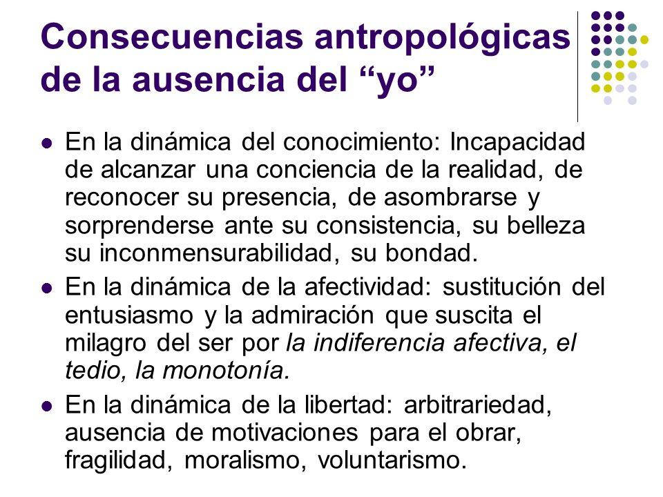 Consecuencias antropológicas de la ausencia del yo