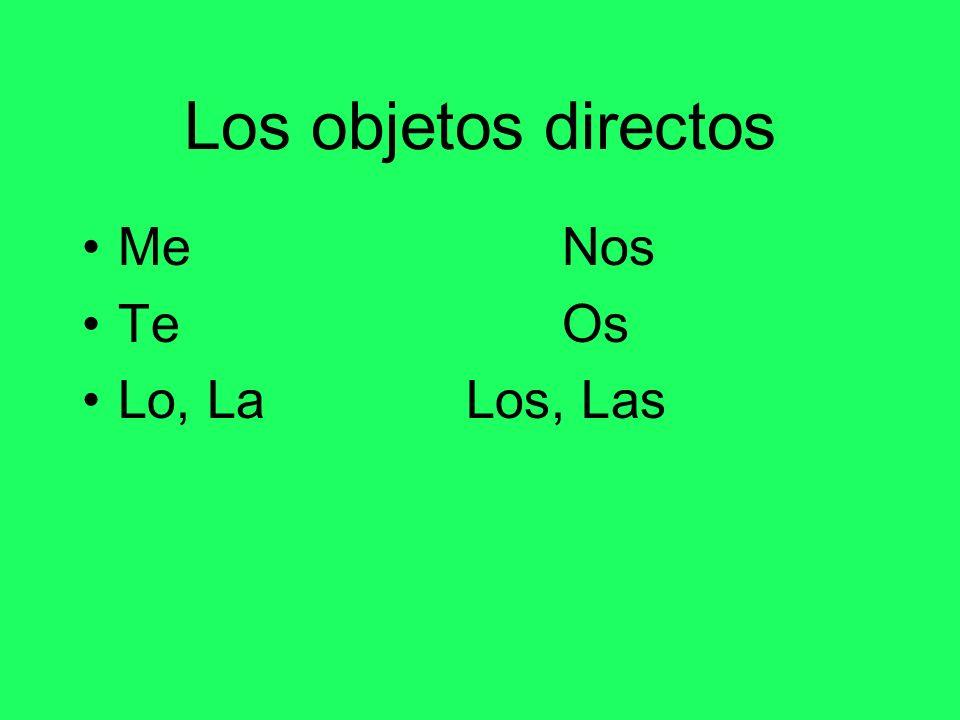 Los objetos directos Me Nos Te Os Lo, La Los, Las