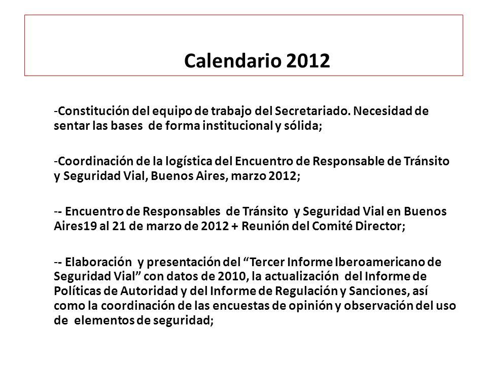 Calendario 2012 Constitución del equipo de trabajo del Secretariado. Necesidad de sentar las bases de forma institucional y sólida;