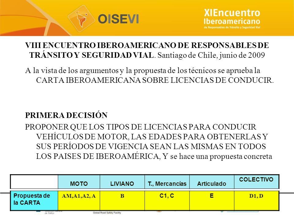 VIII ENCUENTRO IBEROAMERICANO DE RESPONSABLES DE TRÁNSITO Y SEGURIDAD VIAL. Santiago de Chile, junio de 2009