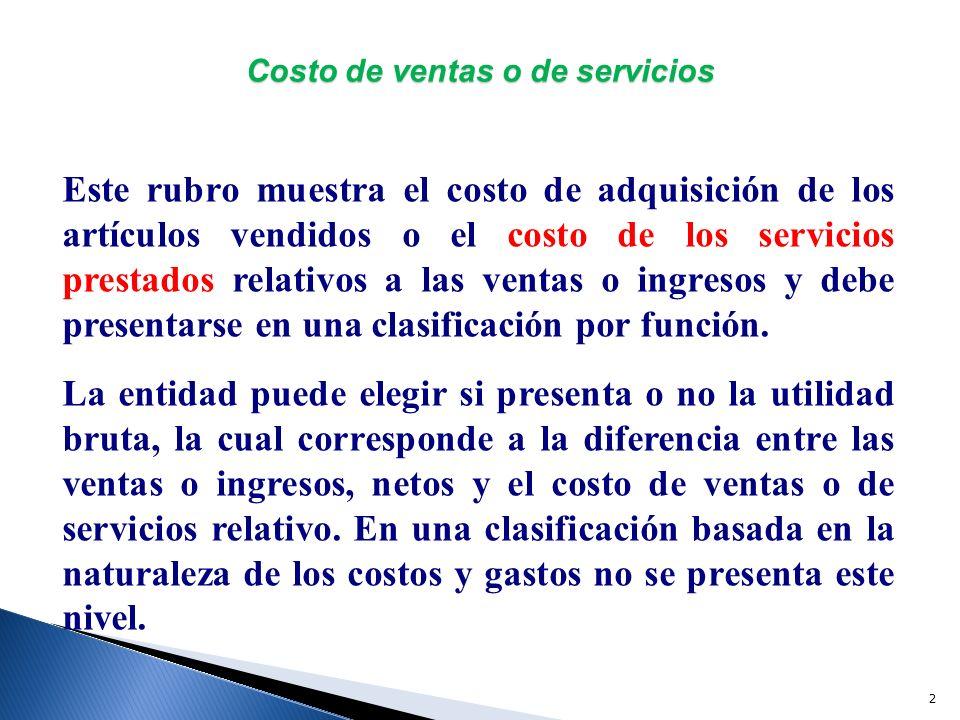 Costo de ventas o de servicios