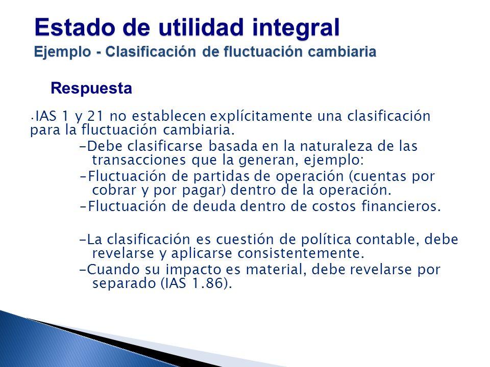 Estado de utilidad integral Ejemplo - Clasificación de fluctuación cambiaria