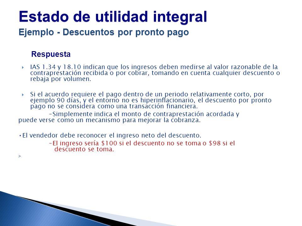 Estado de utilidad integral Ejemplo - Descuentos por pronto pago