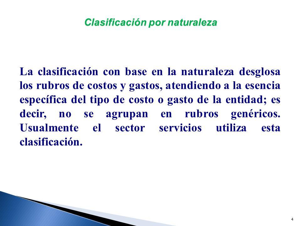 Clasificación por naturaleza