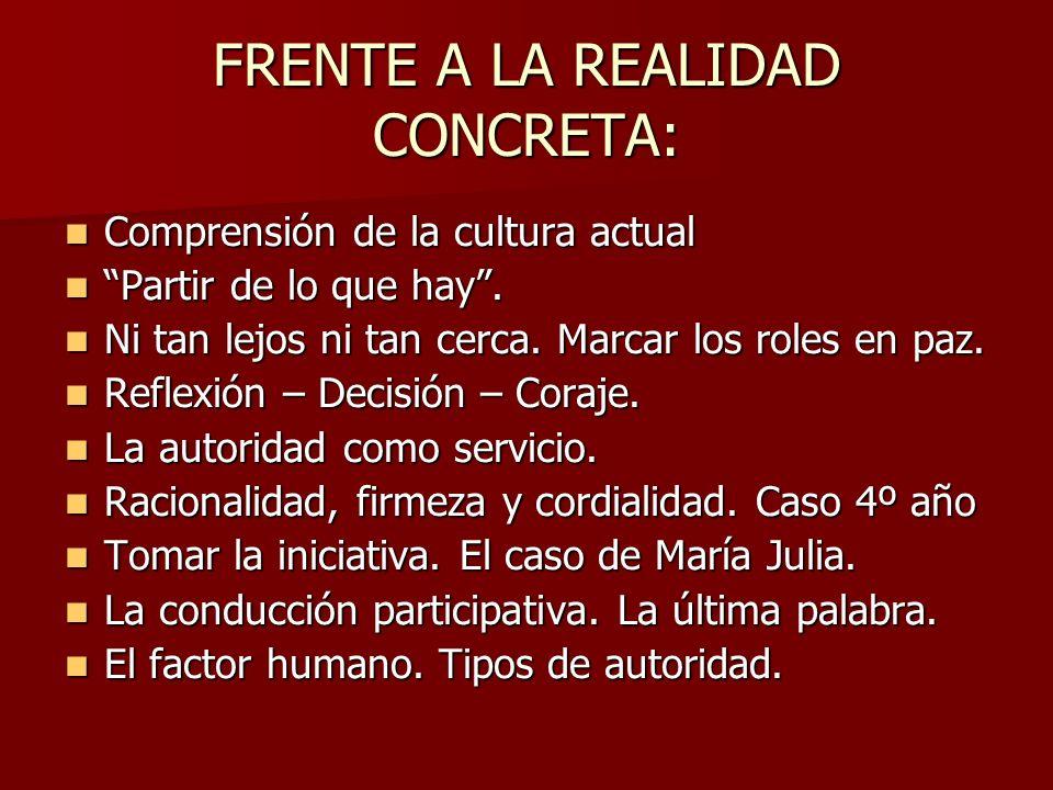 FRENTE A LA REALIDAD CONCRETA: