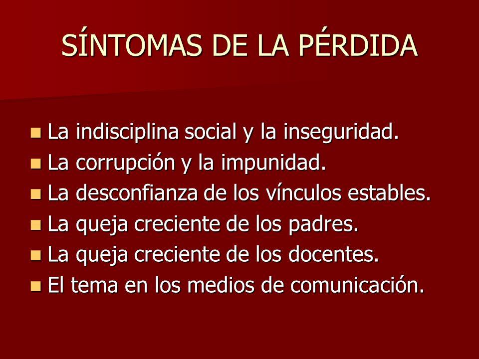 SÍNTOMAS DE LA PÉRDIDA La indisciplina social y la inseguridad.