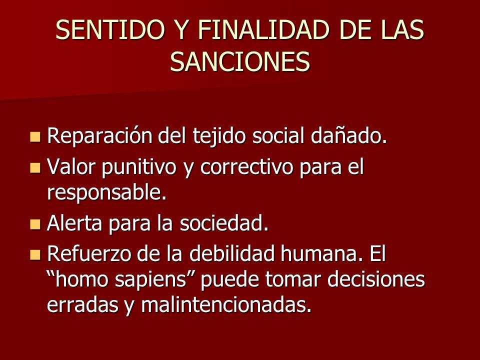 SENTIDO Y FINALIDAD DE LAS SANCIONES