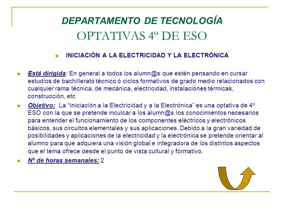 DEPARTAMENTO DE TECNOLOGÍA OPTATIVAS 4º DE ESO