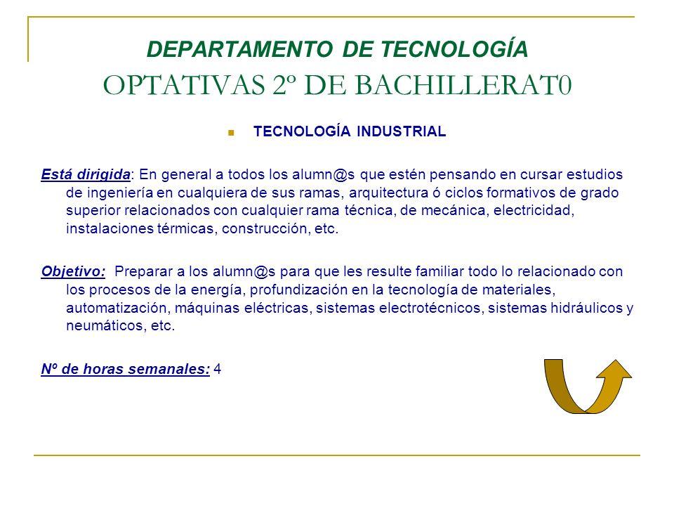 DEPARTAMENTO DE TECNOLOGÍA OPTATIVAS 2º DE BACHILLERAT0